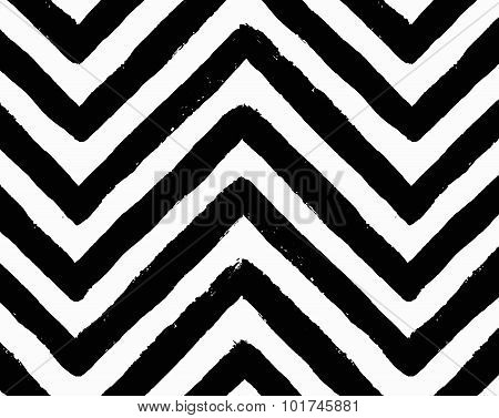 Vector Chevron Black and White Seamless Pattern