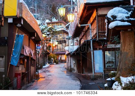 Hot spring resort town Shibu Onsen in Nagano Japan on winter day