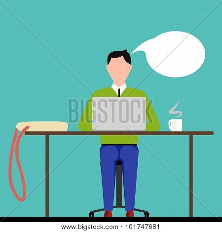 Man Sitting Behind Laptop