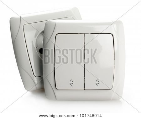 White Electric Switch and Socket on White background.