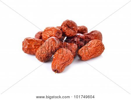 Dried Jujube, Red Date, Chinese Date On White Background