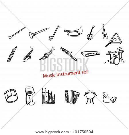 Illustration Vector Doodles Hand Drawn Music Instrument Set.