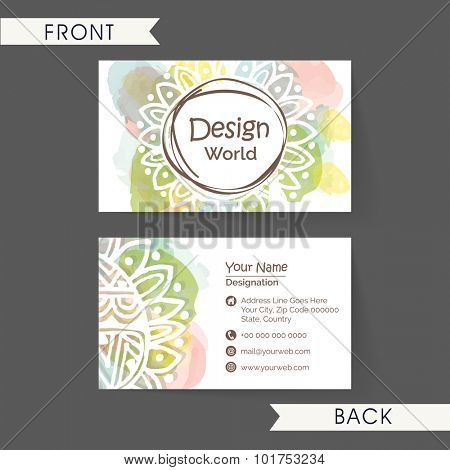 Beautiful floral decorated, horizontal business card, name card or visiting card set in multiple colors for your profession.