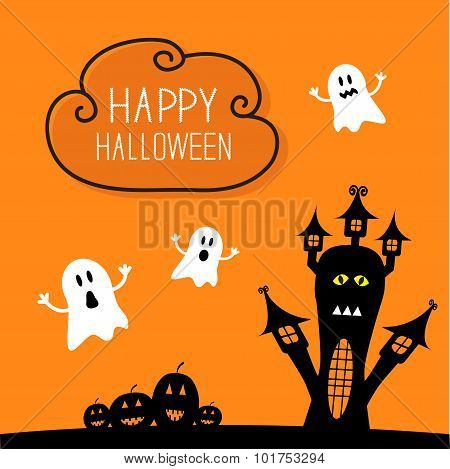 Haunted House, Pumpkins And Ghost. Cloud In The Sky Halloween Card. Orange Background Flat Design