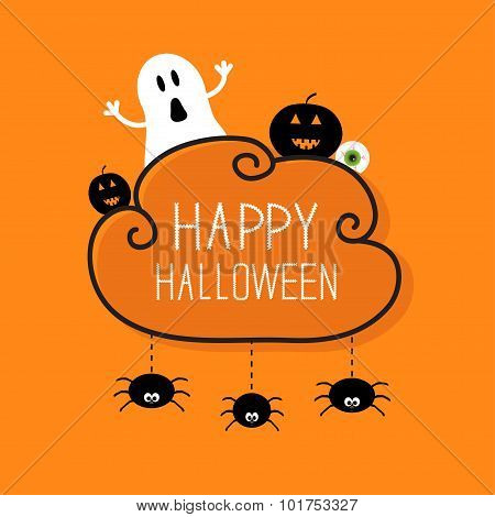 Ghost, Pumpkin, Eyeball, Three Hanging Spiders. Happy Halloween Card. Cloud Frame Orange Background
