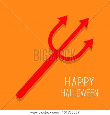 Red Evil Trident. Happy Halloween Card. Flat Design Orange Background