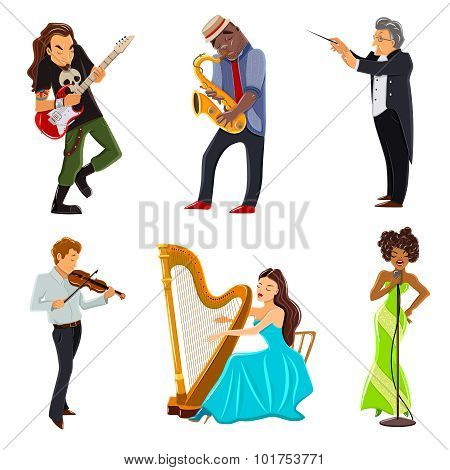 Musicians flat icons set