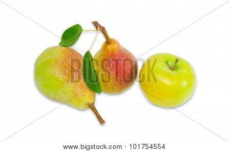 Two Pear Bartlett And Apple On A Light Background