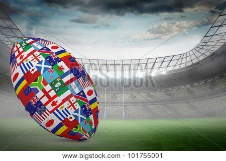 Rugby world cup international ball against rugby stadium