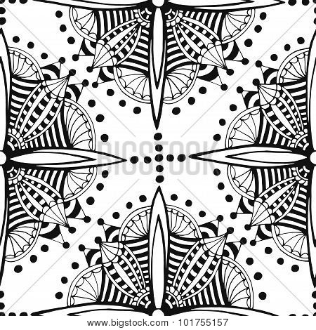 Zentangle seamless pattern. Black and white coloring page.