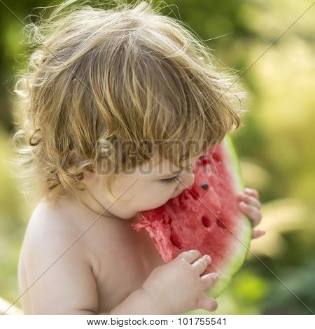 Boy Eating Water Melon