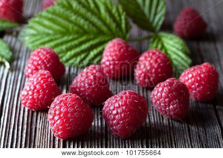 Fresh raspberry organic vegetarian diet snack macro closeup. Healthy vitamin dessert. Superfood. Dar