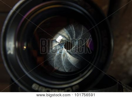 Diaphragm of a camera lens aperture