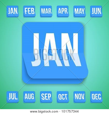 Realistic Vector Calendar Icon made in Trendy Flat Style. Set of