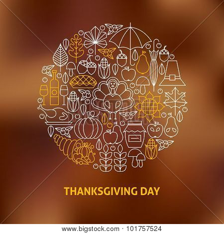 Thin Line Thanksgiving Day Holiday Icons Set Circle Shaped Concept