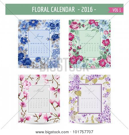 Floral Calendar - 2016 - with Vintage Flowers - in vector - vol.1