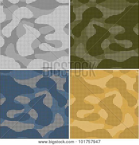 Digital camouflage seamless patterns - vector set.