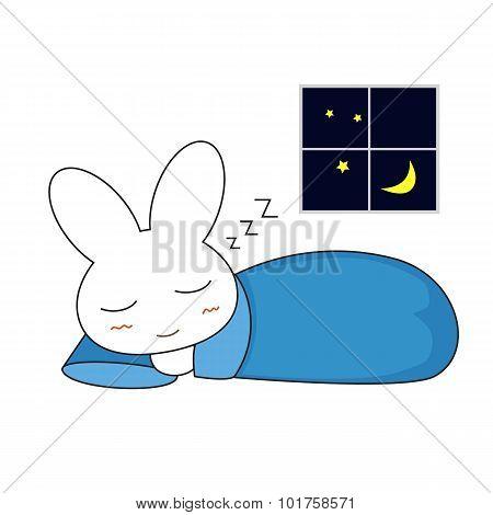 Cute Cartoon Bunny Girl. Vector Illustration.