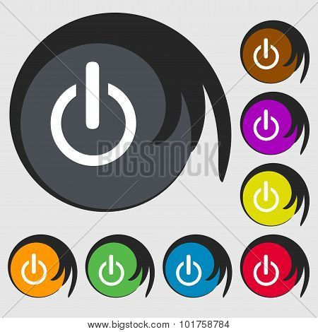Power Sign Icon. Switch Symbol. Symbols On Eight Colored Buttons. Vector