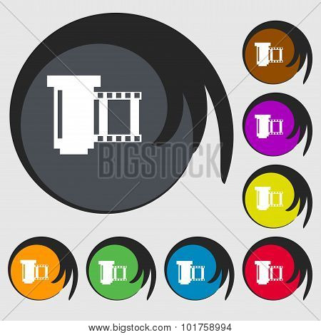 Negative Films Icon Symbol. Symbols On Eight Colored Buttons. Vector
