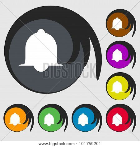 Alarm Bell Sign Icon. Wake Up Alarm Symbol. Speech Bubbles Information Icons. Symbols On Eight Color