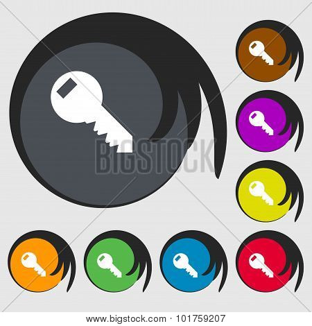 Key Sign Icon. Unlock Tool Symbol.. Symbols On Eight Colored Buttons. Vector