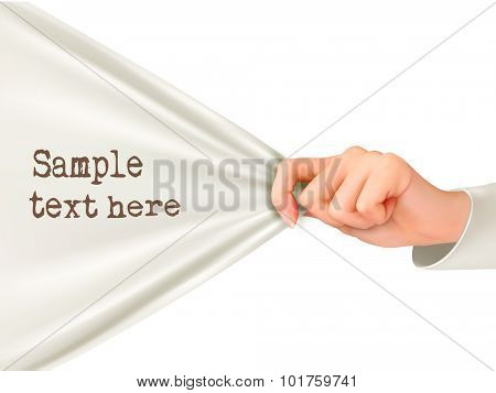 Hand pulling a white cloth with text space. Vector.