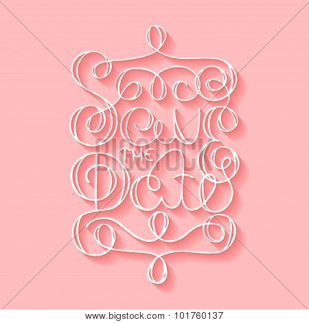 Card With Handdrawn Typography Design Element On Pink Background With Shadows