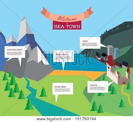 tourism infographic. Vector resort illustration