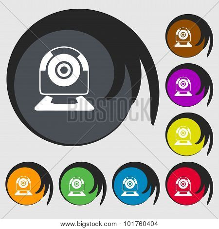Webcam Sign Icon. Web Video Chat Symbol. Camera Chat. Symbols On Eight Colored Buttons. Vector