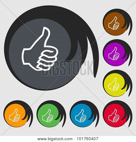 Like Sign Icon. Thumb Up Symbol. Hand Finger-up. Symbols On Eight Colored Buttons. Vector