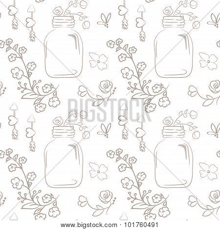 Vector Floral Seamless Pattern. Cute Bouquet Of Wedding Flowers In A Mason Jar.