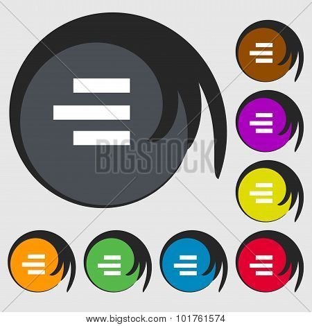 Right-aligned Icon Sign. Symbols On Eight Colored Buttons. Vector