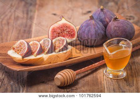Bruschetta With Fresh Figs, Jam And Honey