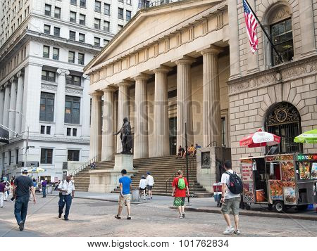 NEW YORK,USA - AUGUST 16,2015 :  The Federal Hall in Wall Street  in downton New York
