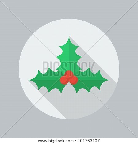 Christmas Flat Icon. Holly Berry