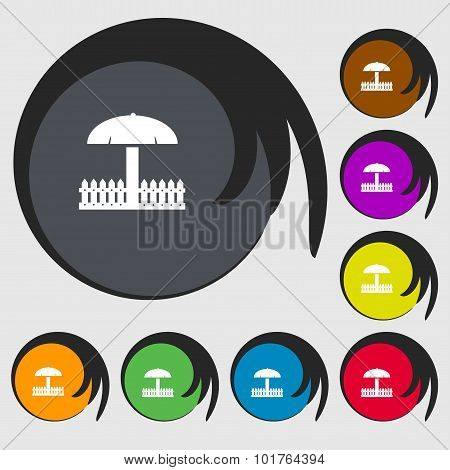 Sandbox Icon Sign. Symbols On Eight Colored Buttons. Vector