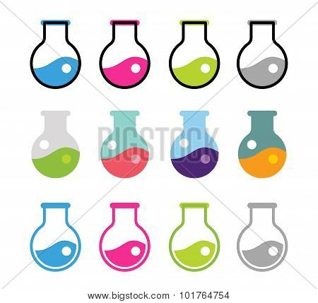 Laboratory equipment vector icons set