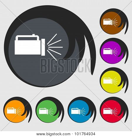 Flashlight Icon Sign. Symbols On Eight Colored Buttons. Vector