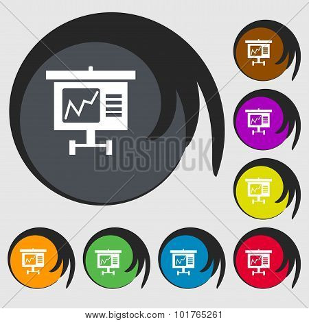 Graph Icon Sign. Symbols On Eight Colored Buttons. Vector