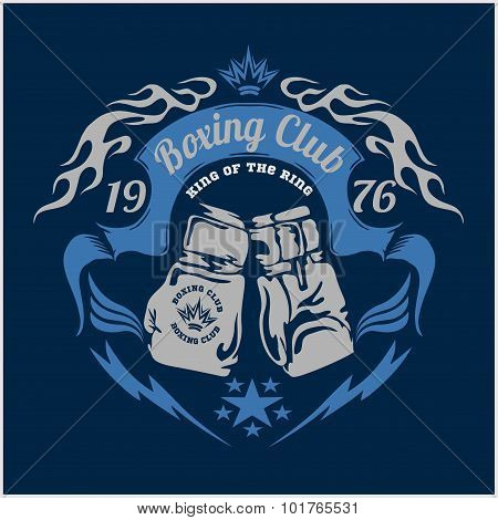 Boxing emblem. Vector stock.