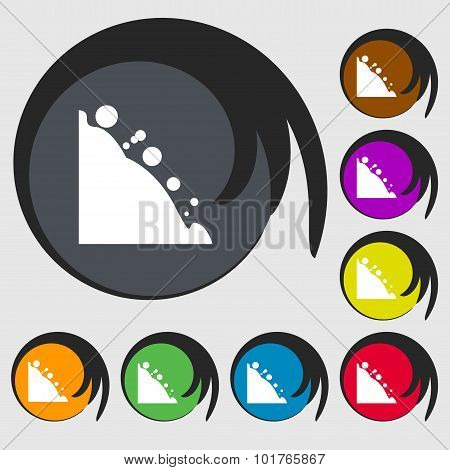Rockfall Icon. Symbols On Eight Colored Buttons. Vector