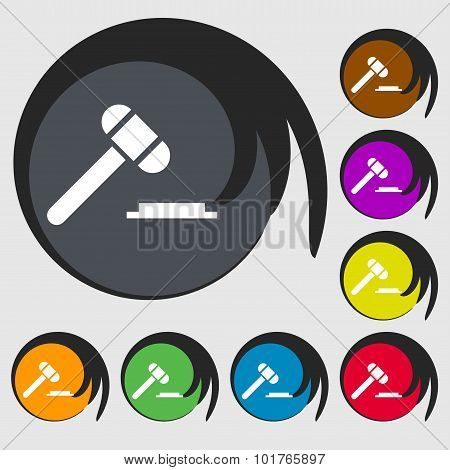 Judge Hammer Icon. Symbols On Eight Colored Buttons. Vector
