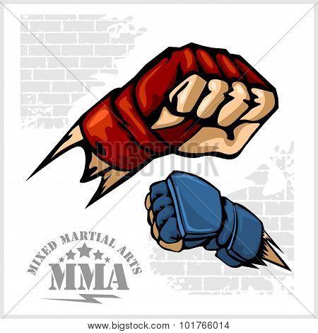 Fist punch - MMA mixed martial arts emblem badges