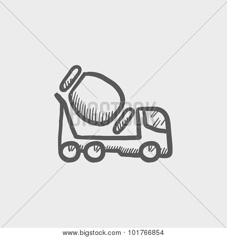 Concrete mixer truck sketch icon for web, mobile and infographics. Hand drawn vector dark grey icon isolated on light grey background.