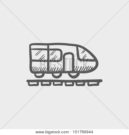 MOdern high speed train sketch icon for web, mobile and infographics. Hand drawn vector dark grey icon isolated on light grey background.