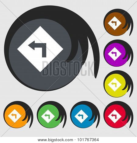 Road Sign Warning Of Dangerous Left Curve Icon Sign. Symbols On Eight Colored Buttons. Vector