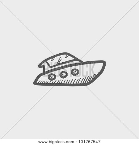Speedboat sketch icon for web, mobile and infographics. Hand drawn vector dark grey icon isolated on light grey background.