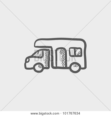 Camper van sketch icon for web, mobile and infographics. Hand drawn vector dark grey icon isolated on light grey background.