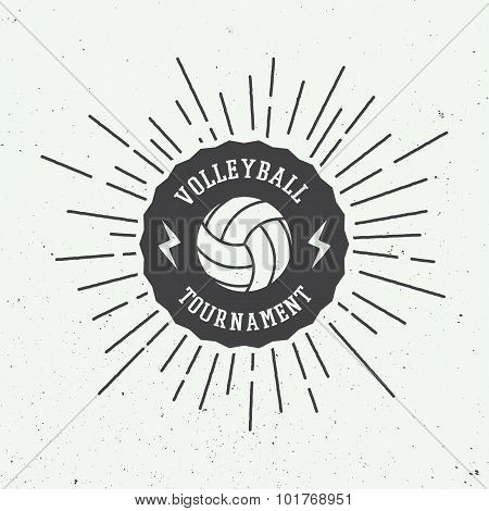 Vintage Volleyball Label, Emblem Or Logo.